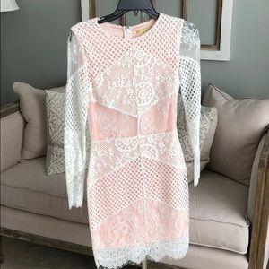 Gianni Bini white lace and peach/blush pink dress